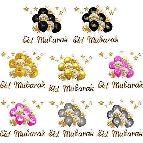 Eid Mubarak Luchtballonnen met pailletten, pull flower pailletten, ballon, glitter, ballonnen voor huwelijk, Ramadan