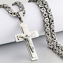 JINKEBIN kettingen Religieuze mannen Rvs Crucifix Cross Hanger Ketting Zware Byzantijnse Ketting Kettingen Jesus Christus ...