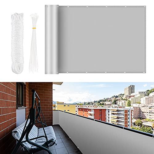 Brise-vue pour balcon - 0,75 x 6 m - Protection contre le vent et les UV - Avec œillets, serre-câbles et corde en nylon - Protection 100 % de la vie privée pour balcon.