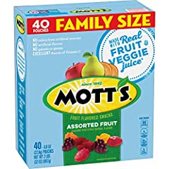 SNACK PACKS: Fruit pouches in your favorite fruit shapes; the perfect snacks for kids. FAT FREE: A tasty snack that is fat free with 100% Daily Value Vitamin C. FRUIT SNACKS: Gummy treats made with real fruit and veggie juice* no artificial flavors a...