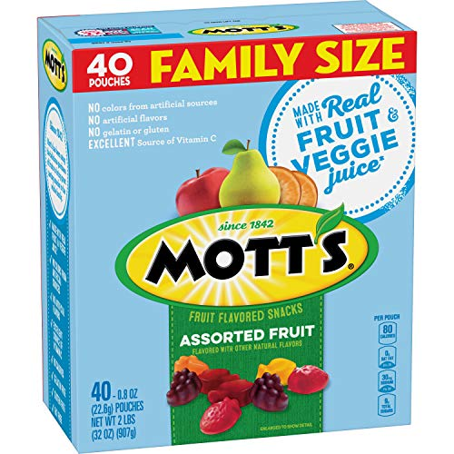 Mott's Fruit Snacks, Assorted Fruit Gluten Free Snacks, Family Size, 40 Count per pack, 32 Ounce