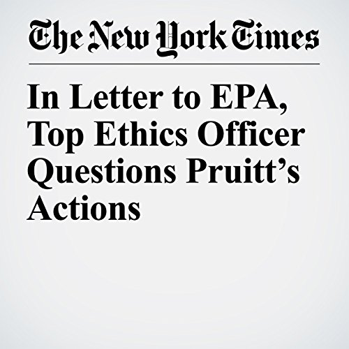 In Letter to EPA, Top Ethics Officer Questions Pruitt's Actions copertina