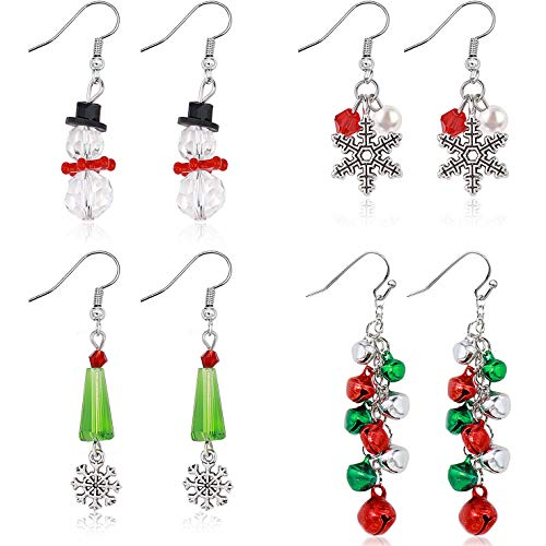 Gleamart 4 Pairs Christmas Drop Dangle Earrings Set Gifts for Women Including Christmas Tree Bells Snowflake Snowman