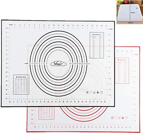 Nifogo Tapete De Cocción Silicona, Baking Mat Antiadherente, Incluye Medidas, Libre De BPA, 60 X 40 Cm Hornear Para Hacer Fondant Pizza (Rojo + Negro)