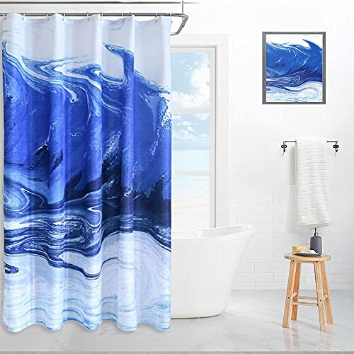 Blue Ocean Printed Shower Curtains Sets for Bathroom with 12 Hooks, Waterproof Bath Curtains,1 Panel