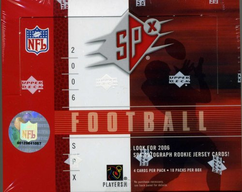 2006 Upper Deck SPX Football Cards Unopened Hobby Box (Randomly inserted autougraph rookie jersey cards and other great inserts)