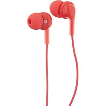 AmazonBasics In-Ear Wired Headphones Earbuds with Microphone, Red