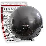 POWRX Ballon DE Gymnastique à Picots - Yoga, Pilates / 55, 65 ou 75 cm (55 cm)
