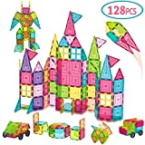 AOKESI Magnetic Toys 128 Pcs Magnet Building Tiles, 3D Magnetic Building Blocks Set, Magnetic Tiles...