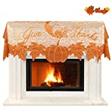 DECORATE YOUR FALL or HARVEST SEASON -Our lace give thanks maple leaves and pumpkin scarf cover fit your fireplace mantle perfectly and have a nice space to put the Thanksgiving display decorations. Dress up any fireplace mantle top with our scarf to...