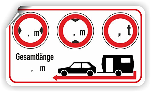 Wohnwagen/Breite/Höhe/Gewicht/Länge/Piktogramm