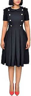 Women's Elegant Flounce Ruffled Wear to Work Business Short Sleeve Button Decoration Ruffle Hem Pleated Midi Dress