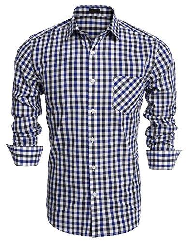 Burlady Herren Hemd Kariert Regular Fit Trachtenhemd Bügelleicht Freizeithemd Hemd Männer (XXL, Blue)