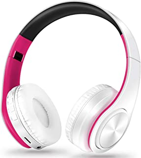 FARVOICE Bluetooth Headphones On Ear Stereo Wireless Headset Wireless Headphone Headset with Microphone for PC/Cell Phones/TV Pink YH-09