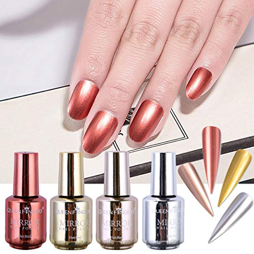 Nail Art, 4 Pcs 8Ml Plating Metallic Nail Polish Set Magic Semi-Mirror Effect Nail Lacquer