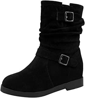 Londony ♥‿♥ Fashion Martin Boots Shoes for Women, Women's Fashion Calf Flat Heel Side Zipper Slouch Ankle Boots