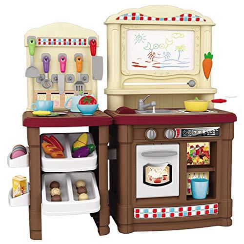 Juguetes de cocina Gran Cocina De Juguete De Plástico Con La Diversión De Cocina Con Amigos Realista Voces De Iluminación De Cocina De Los Niños Accesorios De Cocina Barbie Set 2 Colores conjunto de j