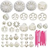 47pcs Flower Cutter Mold Stamps with Sugarcraft Craft Cookies Dough Plunger Cutters Set, Global-store Cookie Pastry Fondant Biscuit Cake DIY Decorating Mold Tools