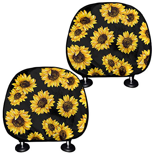 BIGCARJOB Yellow Sunflower Car Headrest Cover Car Seat Head Rest Cover, Protective Fabric Design Cover Decoration for All Cars Set of 2