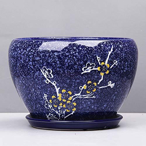 PLL Simple Pot De Fleur Dessin Coloré Fleur De Prunier Style Chinois Pot De Fleur Pot De Fleur en Céramique Balcon Extérieur Pot De Fleur Respirant (Size : M)