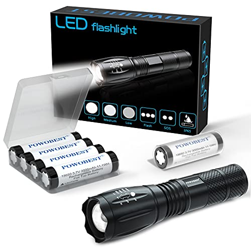 Linterna táctica Linterna LED súper brillante con 4x18650 Batería recargable 3.7V Batería superior plana Linterna táctica con zoom Lámpara de iluminación Antorcha para ciclismo