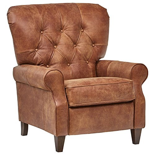 Amazon Brand – Stone & Beam Appleton Farmhouse Tufted Leather Recliner, 35'W, Saddle Brown