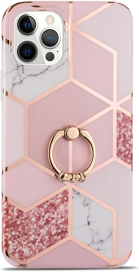 Manleno Compatible with iPhone 12 Pro Max Case Marble with Ring Holder Stand Kickstand Glitter Sparkle Design Women Girls Slim Protective Phone Case Soft Cover for iPhone 12 Pro Max 6.7