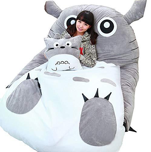 VIVICL Tatami Matratze Matten Cartoon Plüsch Totoro Lazy Schlafsofa Anime Sitzsack Matratze für Kinder Kreative Schlafsaal Matratze Klappbarer Kleiner Schlafzimmer Stuhl,110 * 70cm