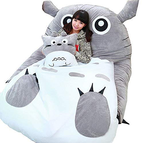 VIVICL Tatami Matratze Matten Cartoon Plüsch Totoro Lazy Schlafsofa Anime Sitzsack Matratze für Kinder Kreative Schlafsaal Matratze Klappbarer Kleiner Schlafzimmer Stuhl,200 * 150cm