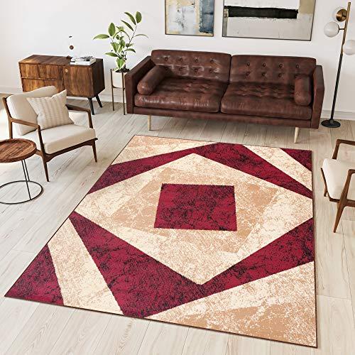 TAPISO Dream Tappeto Soggiorno Salotto Moderno Beige Rosso Geometrico Quadrato A Pelo Corto 140 x 200 cm