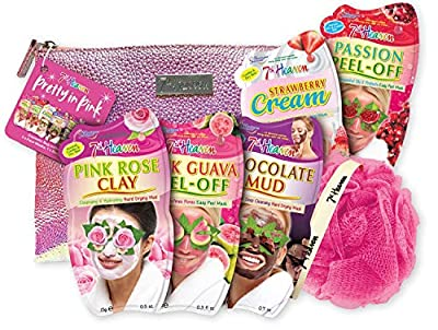 7th Heaven Pretty in Pink Gift Set with Iridescent Cosmetics Bag and Exfoliating Body Puff - Includes Pink Guava Peel-Off, Passion Peel-Off, Pink Rose Clay, Chocolate Mud and Strawberry Cream Masks by Montagne Jeunesse