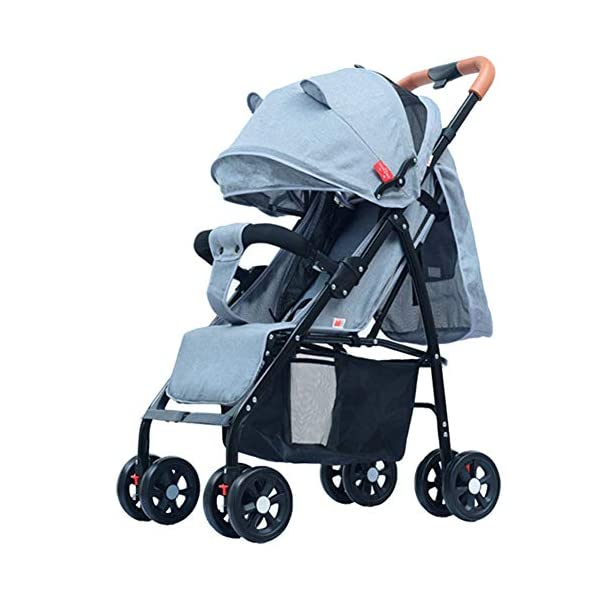 CYCPACK Gray Folding Portable Baby Stroller - Prams And Pushchairs From Birth, Buggy with Lying Function, Shockproof Baby Trolley Suitable for Babies Aged 0~3 CYCPACK Safe:With sturdy aluminum alloy, compact body and five-point seat harness,each stroller has been pressure tested to provide security for each baby.After using for a period of time, be sure to add lubricant to the bearings of the four wheels to prevent the wheels from being damaged by force. Quality and Design:The backrest of the stroller supports sitting, half lying, lying,all three angles,lengthened and widened sleeping basket. Four wheel independent shock absorbing and built-in bearings make it smoother and quieter. COMFORTABLE: Thanks to backrest and footrest adjustable into lying position, sun hood, practical cup holder tray, and large shopping basket both the parents and the child will be comfy 1