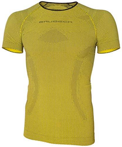 BRUBECK Herren Fahrradshirt mit Daumenlöcher | Kurzarmshirt Fahrrad | Funktionskleidung atmungsaktiv schnell trocknend | Mens Short Sleeve Shirt Bike | 3D-Struktur | Yellow | Gr. L | SS11930