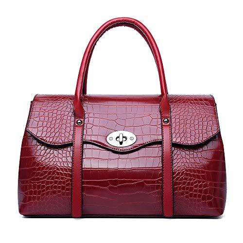 Coolives Bolso de mano con Bandolera para Mujer en Cuero PU Vintage Bolso Hombro Patrón de Cocodrilo Bolso de Bandolera Elegant Rojo