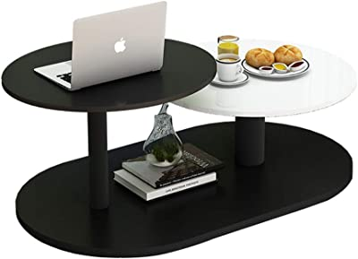 Coffee Table Simple Modern Living Room Mini Creative Small Round Table Black and White Color: C