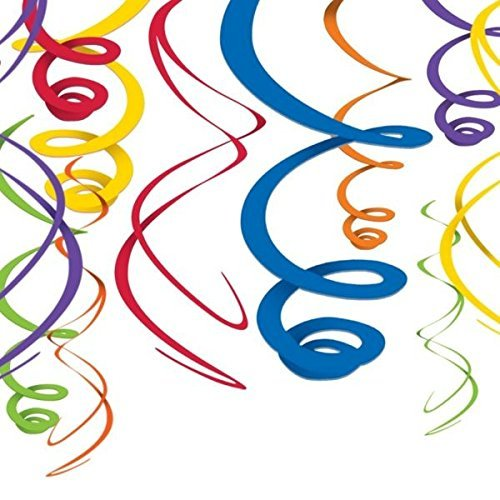 amscan Rainbow Plastic Swirl Decorations | 24 Count