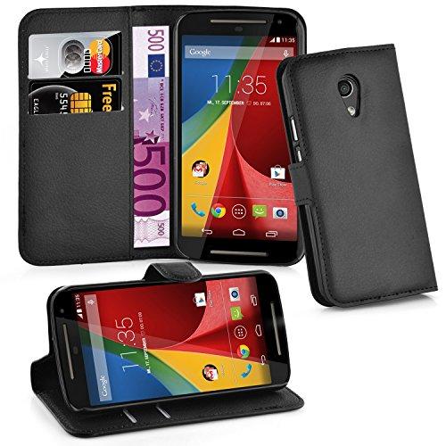 Cadorabo Hülle für Motorola Moto G2 - Hülle in Phantom SCHWARZ – Handyhülle mit Kartenfach & Standfunktion - Hülle Cover Schutzhülle Etui Tasche Book Klapp Style