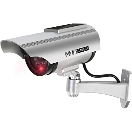 Masetley ダミーカメラソーラーパネル搭載 防犯カメラ 監視カメラ 防犯シール セキュリティステッカー 内貼り式ステッカー バレット型防犯カメラ 不審者対策 防犯対策 ledライト 常時点滅 本物そっくり 屋内外両用 半永久的に使用可能