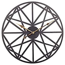 Large Wall Clock, 24 Inch Creative Vintage Metal Clock with Geometric Dial, Silent Battery Operated Clock Decorative for Home, Living Room, Kitchen, Den - Brushed Black
