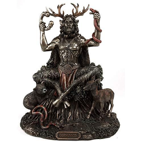 Cernunnos Statues, Celtics Horned God of Animals Resin Statue, 5 Inch Bronze Statue ,Figurines Garden Crafts Decorations Home Accessories