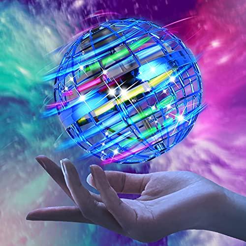 Herefun Mini Drone Bola Voladora, Juguetes Voladores Controlados A Mano, Magic Volar Juguetes Rotación de 360 ° y Luces LED, UFO Drone Regalo para Niños al Aire Libre Interior