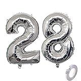 Ballon gonflable en forme de chiffre 28 Argenté Pour fête d'anniversaire 28 ans Décoration de fête d'anniversaire Taille XXL Décoration d'anniversaire 40 '