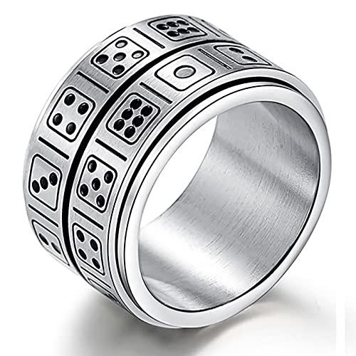 GXY&YT Anillo giratorio de acero de titanio para dados, regalo de cumpleaños del día del padre, resistente a los arañazos, hipoalergénico y nunca se decolora, 12 unidades