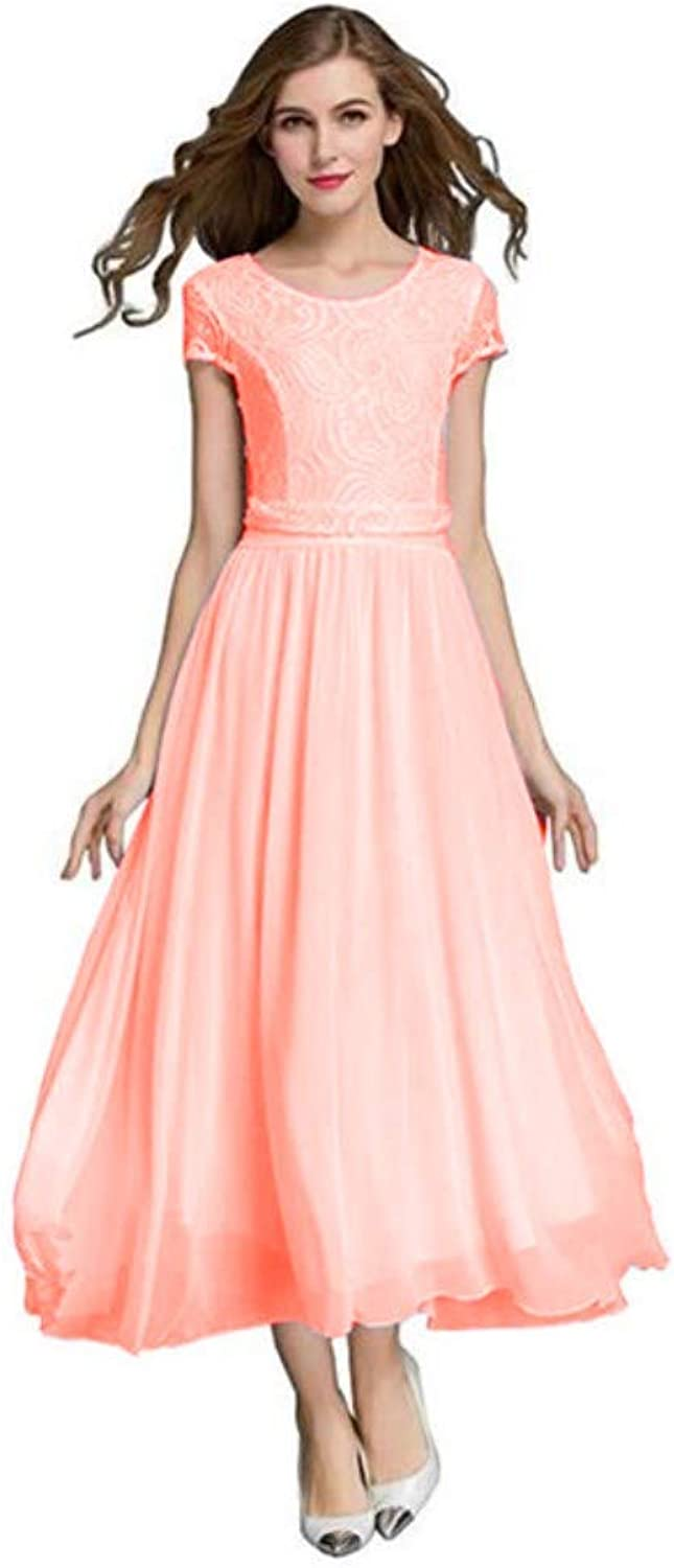 Honeydress Women's Elegant Cap Sleeve Floral Lace Bridesmaid Dress Formal Gown