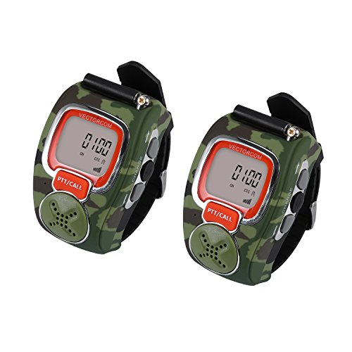 VECTORCOM RD007B Portable Digital Wrist Watch Walkie Talkie Two-Way Radio for Outdoor Sport Hiking, 462MHz, Black, 2PCS (Green)
