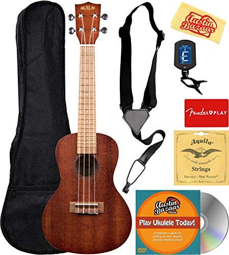 Kala KA-15C Satin Mahogany Concert Ukulele Bundle with Gig Bag, Tuner, Strings, Strap, Fender Play, Austin Bazaar Instructional DVD, and Polishing Cloth