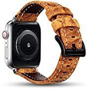 Tensea Leather Band Compatible with Apple Watch Band 42mm 44mm, Premium Genuine Leather Straps Replacement for Men Women iWatch Apple Watch Series 1, Series 2, Series 3, S (Brownish Yellow)