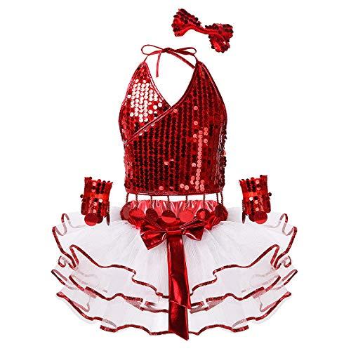 ranrann Mädchen Hip Hop Modern Tanz Kostüm Set Glitzerndes Tank Top mit Fransen Tüll Tutu Rock Manschetten Kinder Dancewear für Bühne Wettbewerb Rot 140-152/10-12 Jahre