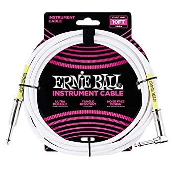 Ernie Ball 10  Straight / Angle Instrument Cable - White