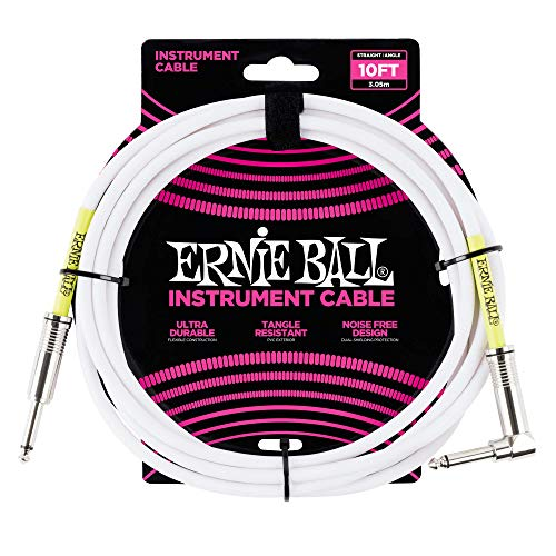 Ernie Ball 10 'Straight/Angle Instrument Cable - Blanco